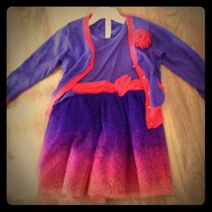 Purple and Red Dress with Sweater Size 4T/5T Girl